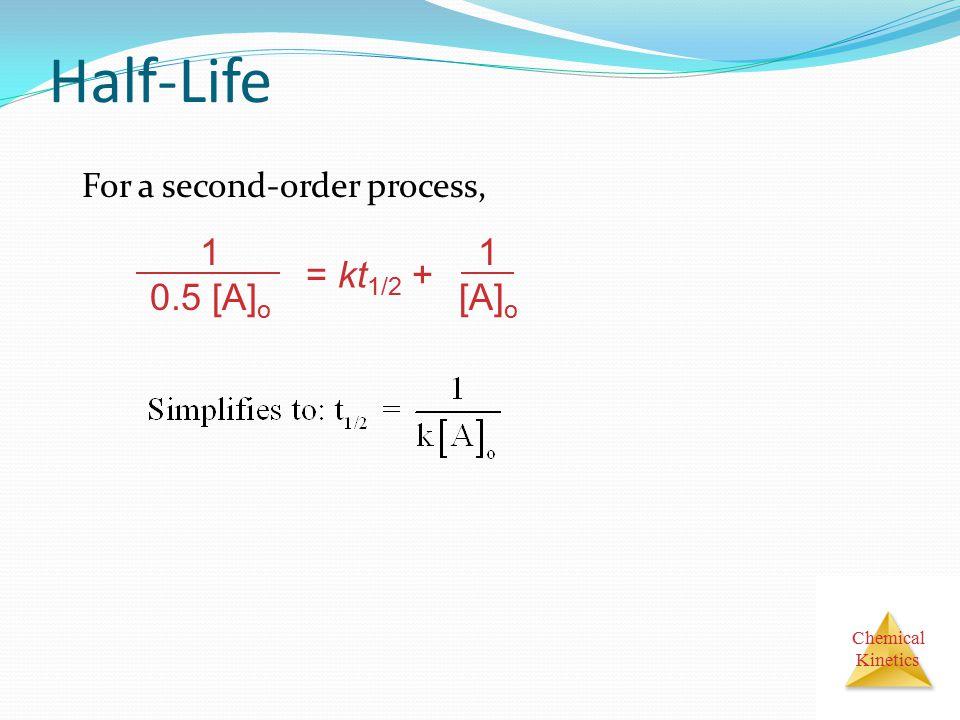 Half-Life For a second-order process, 1 0.5 [A]o = kt1/2 + [A]o